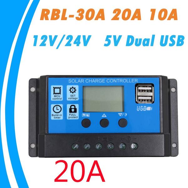 Contrôleur de charge solaire PWM 30A / 20A / 10A 12V 24V Auto work avec écran LCD double sortie capteur USB 5V régulateur de charge de panneau de cellule solaire PV Page d'accueil
