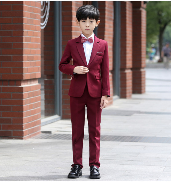 New Arrival Dark Red Boys Taping Suit In Stock Baby Boy Tuxedos Performance Costumes Flower Kids Wedding Occassion Suits For Sale