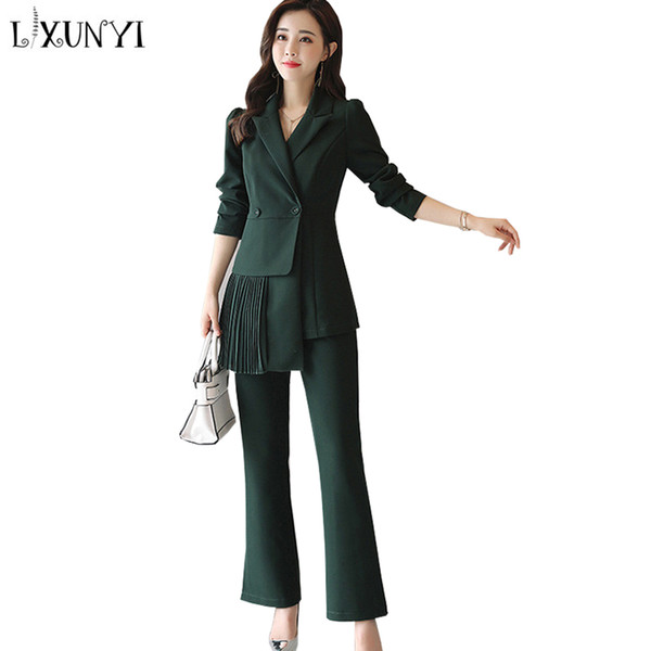 93faff0a 2018 Lxunyi New Fashion Pant Suit Work Wear Formal Set Pants And Top  Irregular Slim Office Uniform Designs Women Pantsuit From Splendid99,  $76.21 | ...