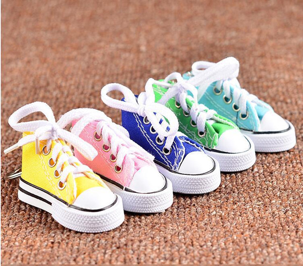 Colorful Women Shoes Key Chains for Lovers Small Canvas Shoes Car Keychain Silver Plated Shoe Keyrings Key Holder c755