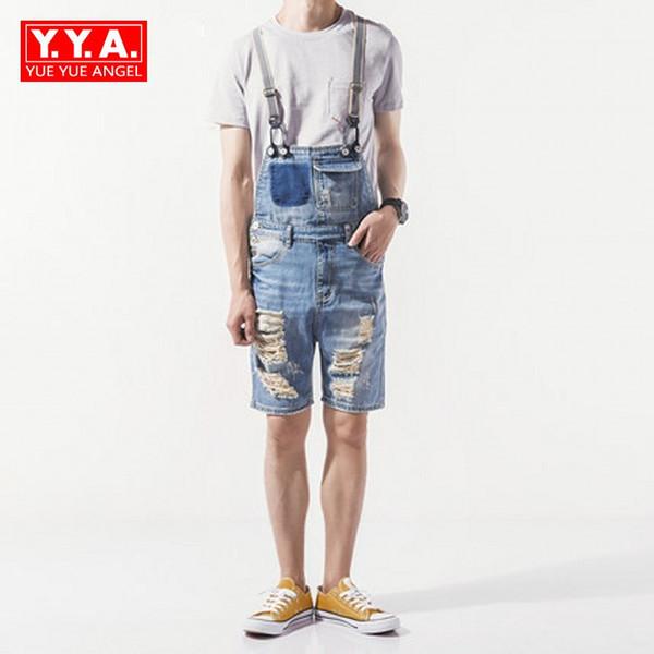 Denim Herren Shorts 2018 Korean Fashion Männlich Overalls Loch Ripped Biker Casual Mann Hosenträger Streetwear Knielangen Overalls Männer