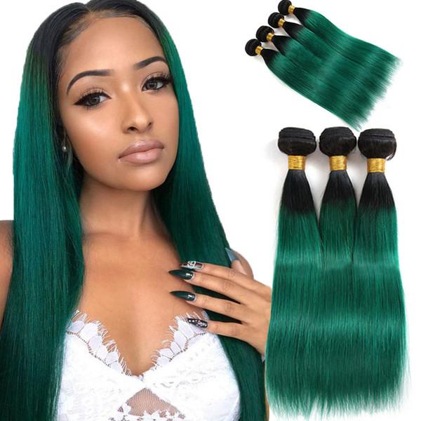 Ombre Brezilyalı Saç 3 Demetleri Anlaşma Ön Renkli T1B / Turkuaz Brezilyalı Düz İnsan Saç Demetleri Yeşil Ombre İnsan Saç