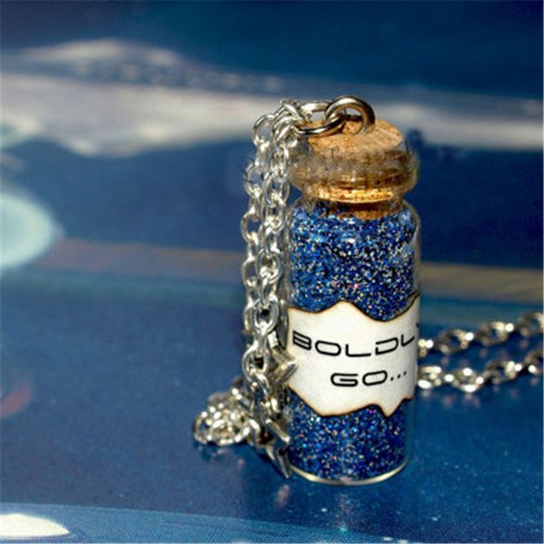 12pcs/lot Star BOLDLY GO Necklace 2 Star Charms Dust Magic Starship Captain Kirk Spock Captain Picard Star Trek Jewelry