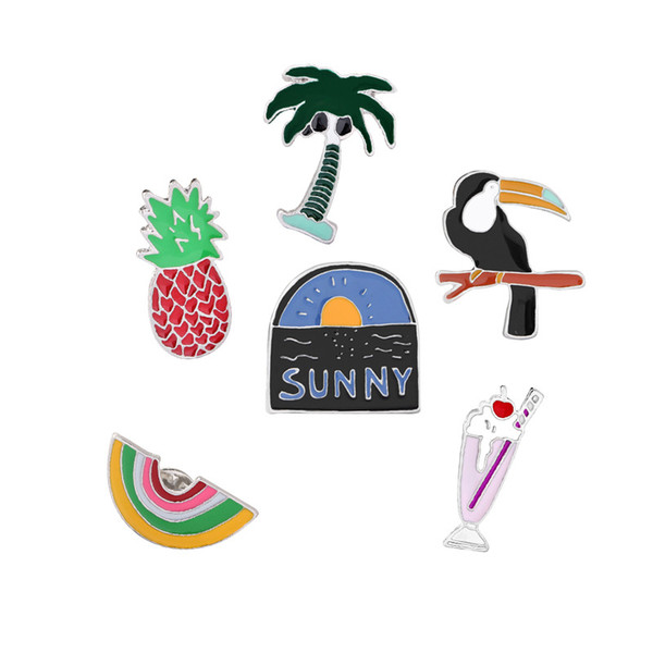 Cute Fruit Summer Small Size Enamel Pins for Women Girl Clothes Backpack Demin Jeans Jacket Shirt Collar Lapel Pins Button Badge Wholesale
