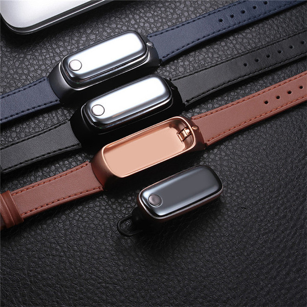 Genuine leather Smart Sport Watch M6 with Detachable bluetooth Headset pulsometer Sleep monitor Bracelet Phone for Android/IOS