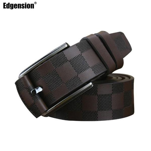 Edgension British Style Men Luxury Brand Name Designer Plaid Pattern Genuine Leather Wide Belts New 2018 Fashion Man Accessories