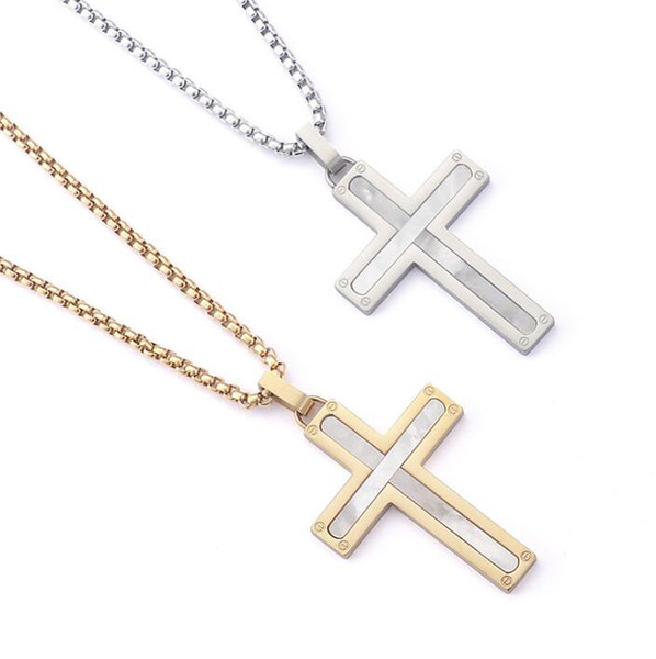Mens Womens Shell Cross Pendant Necklaces Stainless Steel Link Chain Necklace Statement Charm Popular Jewelry gifts Fashion Accessories free