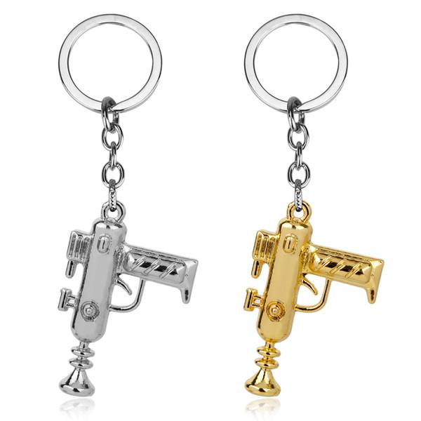 Rick und Morty Portal Maschinengewehr Gold Metall Handgefertigte Anhänger Schlüsselbund Schlüsselbund Ornament Cosplay Sammlung Geschenk Cool