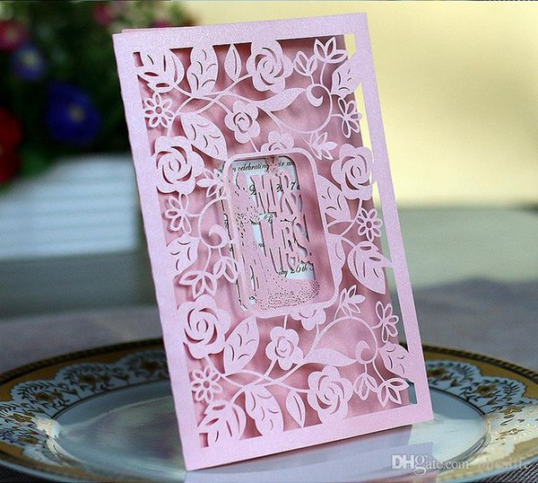 Pink Laser Cut Flower Wedding Laser Cut Wed Invitation Party Wedding Invitations Day Evening Invite Card Customized Size Printing Free Ship How To