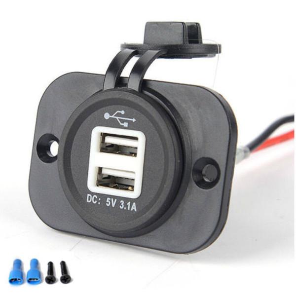 Carro Motocicleta Duplo USB Plug Carregador de LED Azul 12-24 V 1A 2.1A Tomada À Prova D 'Água com Saco de Opp