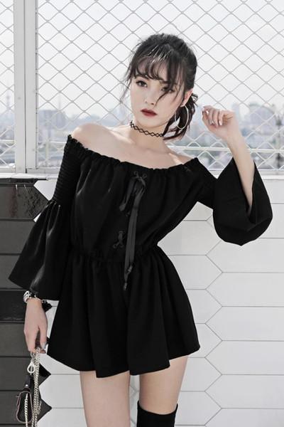 2018 Nueva llegada Gothic Punk mujeres Slash cuello de manga larga sólido negro elástico de la cintura suelta mujer Sexy mono general Romper