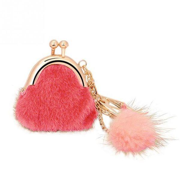 Unique Keychain Women Handbag Keychain Pompon Keychain Fur Plush Key Ring Holder Girls Bags Charm Women's Jewelry Bag Pendant