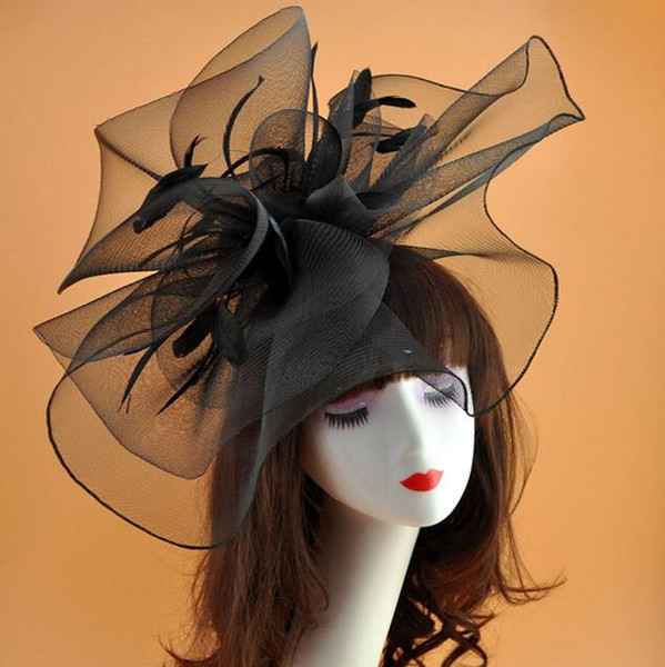 Exaggerated Large Bridal Hats Vintage Tulle Net Party Hat with Feather Stunning Black Formal Large Hats