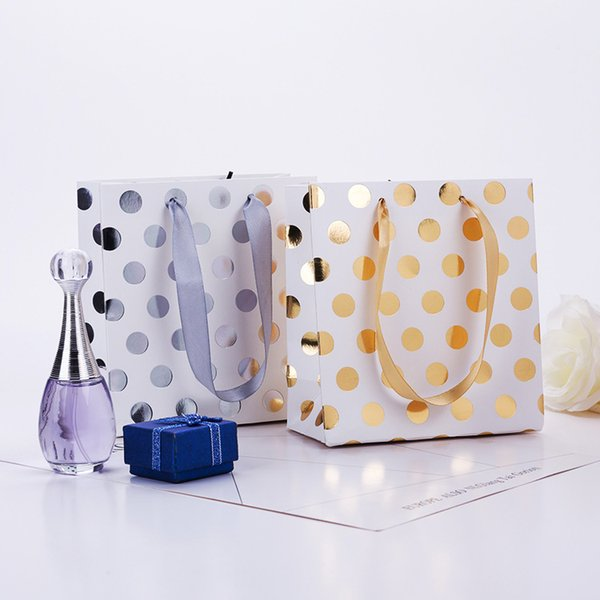 Gold and silver Polka dot paper bag & Festival gift package, Fashionable gift paper bag, 10pcs/lot
