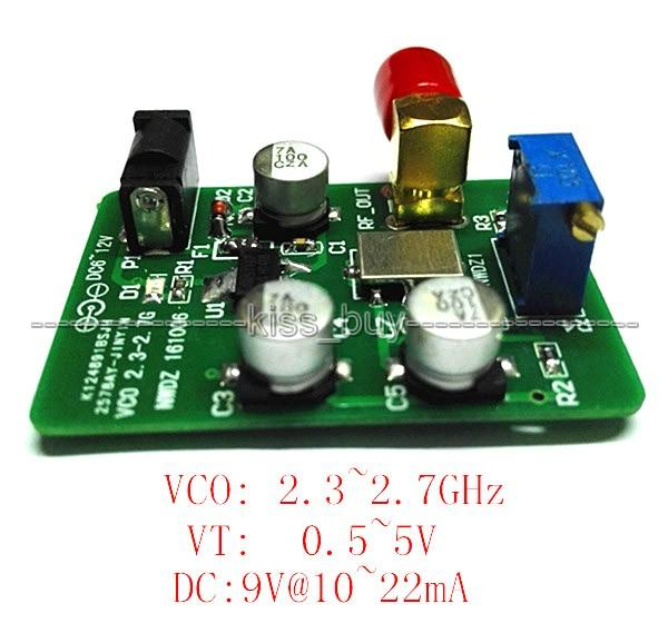 Freeshipping 2.4G VCO voltage control signal source / Sweep Signal WIFI Bluetooth Test source 2300 ~ 2700MHz dc 6-12v