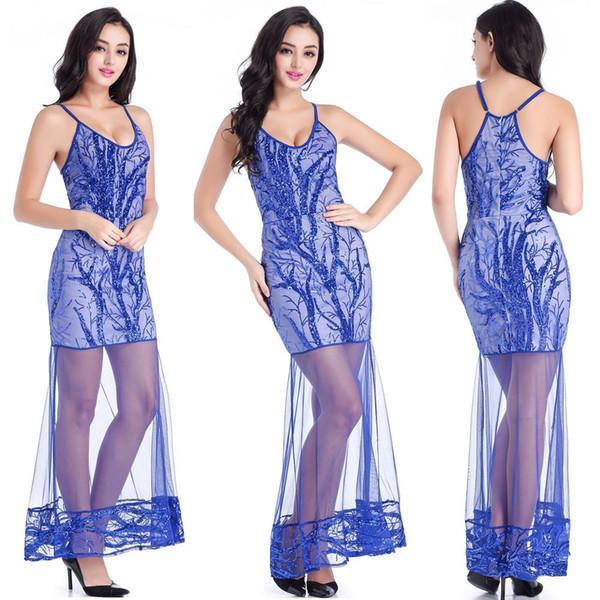 Vestido de noite longo europeu e americano suspense sexy lantejoulas boate, V profundo grânulos, vestido de festa violeta.