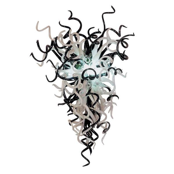 100% bouche soufflé en verre lustre égyptien moderne concepteur d'économie d'énergie grand assez jolie décoration de mariage noir blanc effacer pendentif éclairage