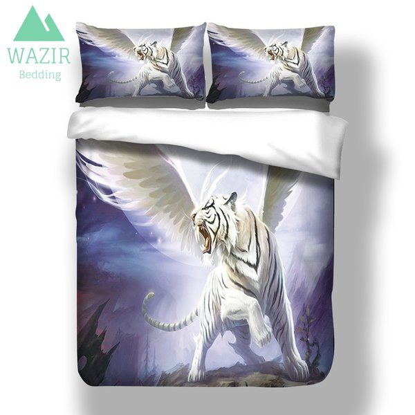 WAZIR Flying Apsara-White Tiger 3D Print Bettwäsche Set Bettbezug Kissenbezug GRÖßE König Königin 3st