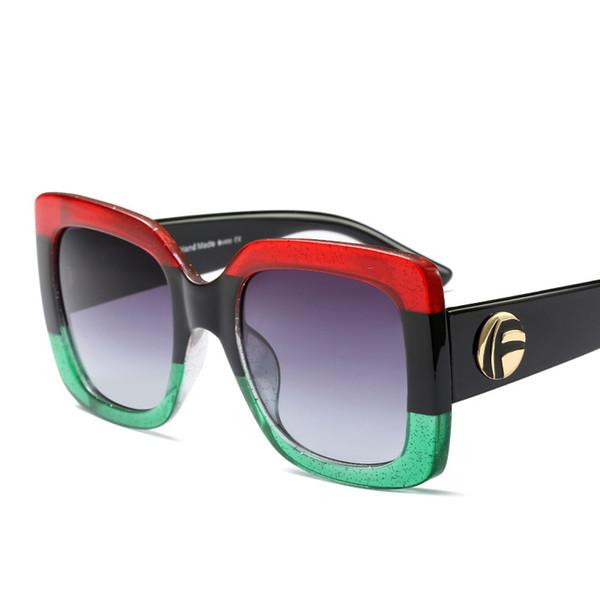 Oversized Square Sunglasses Women Fashion Gradient Lens Sun Glasses For Women Brand Luxury Black Green Red Shades UV400