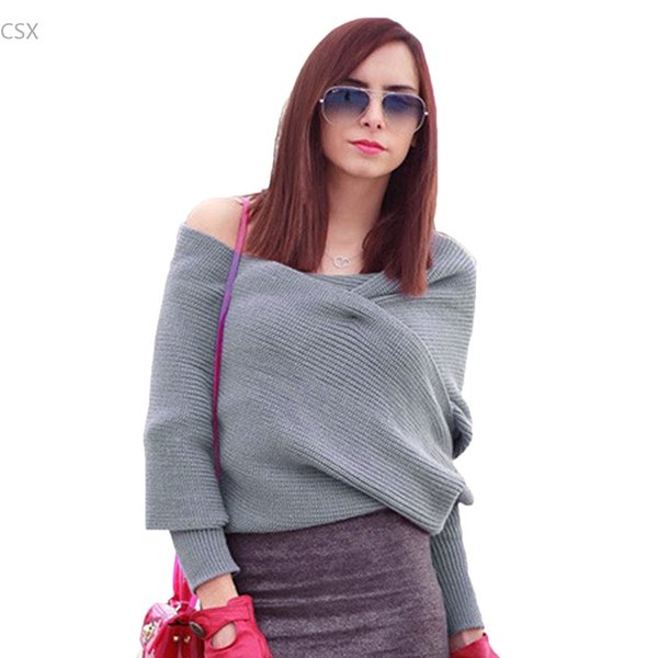 New Women Sweater Fashion Brand Knitwear Grey Black Off the Shoulder Long  Batwing Sleeve Sweater Casual Knitted Crop Pullover 41 b7705ab99