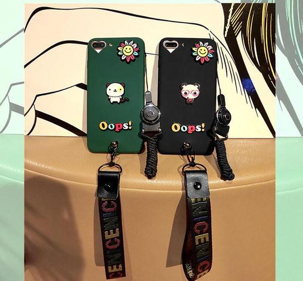 rayures de dessin animé ours brun avec dragonne amoureuse étui en silicone souple pour iphone 6 6s 6plus 7 8Plus