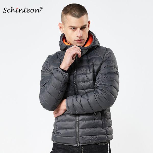 2018 Schinteon Hiver Hommes Veste Manteau Coton-Rembourré Parkas Européen et Américain Simple Vêtement Solide avec Capote Chaud