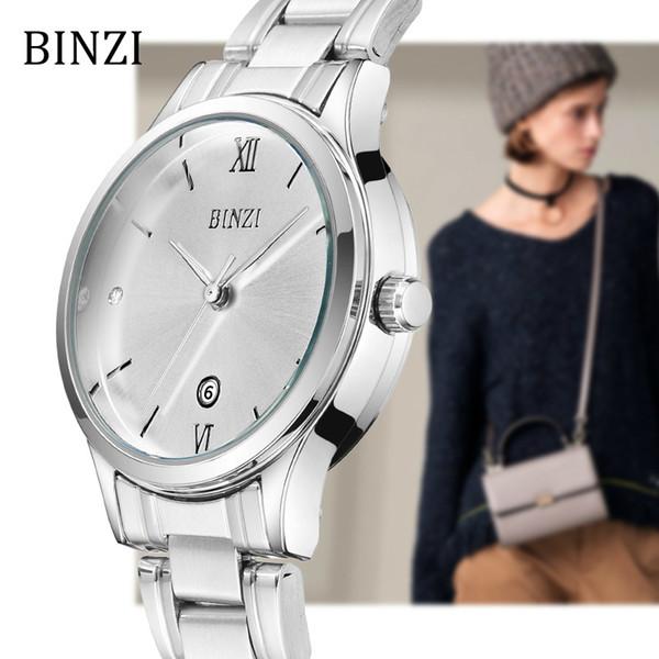 cfe99fa826b Mulheres Relógios BINZI Quartzo Relógio de Pulso Das Senhoras 2018 Pulseira  de Moda Relogio feminino Montre
