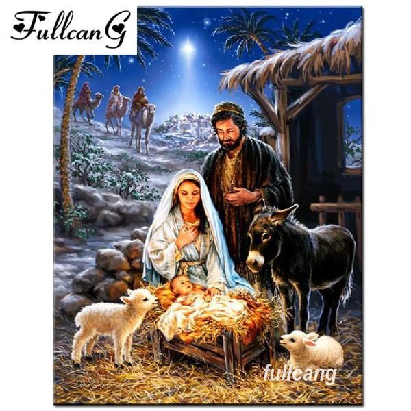 best selling FULLCANG 5d mosaic diamond painting cross stitch diamond embroidery Jesus was born religious icons full square rhinestones F532