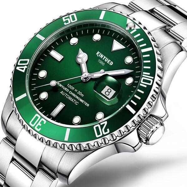 Großhandel Kinyued Top Marke Mechanische Uhr Luxus Männer Business Edelstahl Männlichen Uhren Uhr Geschenk Für Männer Armbanduhr J027 Grün Von