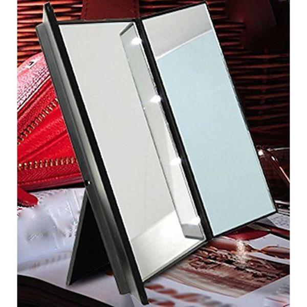 Tragbare 8 LED beleuchtete Make-up 3 faltender kosmetischer Eitelkeits-Tischplatten-Spiegel für Frauenschönheitsmake-up Heißer Verkauf