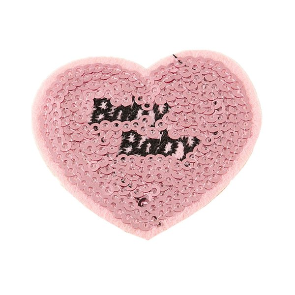 Sequin Embroidery Patch Pink Heart Baby Sew Iron On Patches Badges For Bag Jeans Hat T Shirt DIY Appliques Craft Decoration