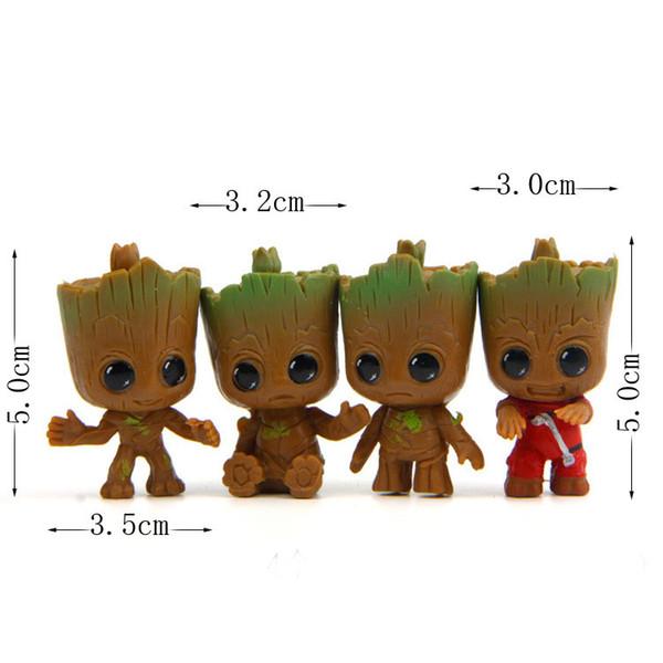 Mignon Mini Groot Design Figurines Résine Gardiens de La Galaxie Micro Paysage De Jardin Décor 5 cm 4pcs / lot DEC448