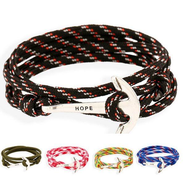 Berühmte Marke Tom Hope 5 Farbe handgemachte Thread Ketten Armband Edelstahl Gold Anker Charms Armband 12PCS / lot