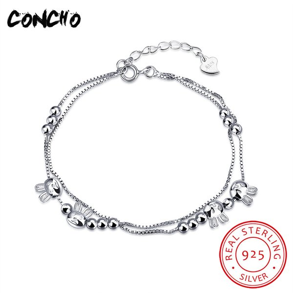 2018 Concho Jewelry 925 Sterling Silver Rabbit Shape Bracelet For Women Design Retro Jewellery Hot Sale Animal Pendant From Kwind