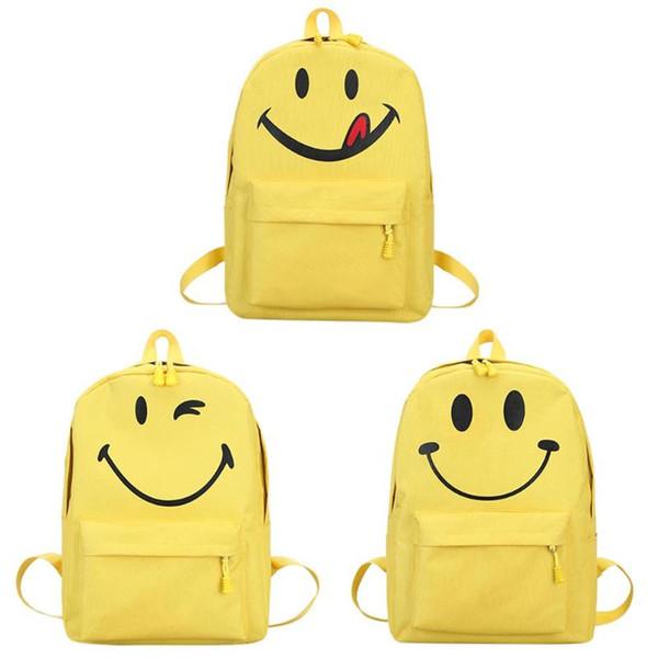 Zaino di fronte di sorriso giallo Moda Zaino di spalla di studente di tela carino zaino di scuola per ragazze adolescenti