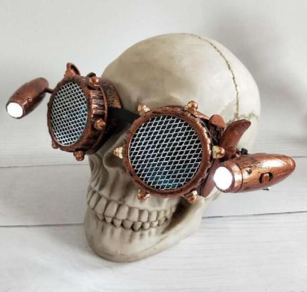 Steampunk Style Goggles Men mit Metallschraube Gothic Eye tragen Gitterlinsen und LED-Lichtbrillen Damen Steampunk Brille KKA6274
