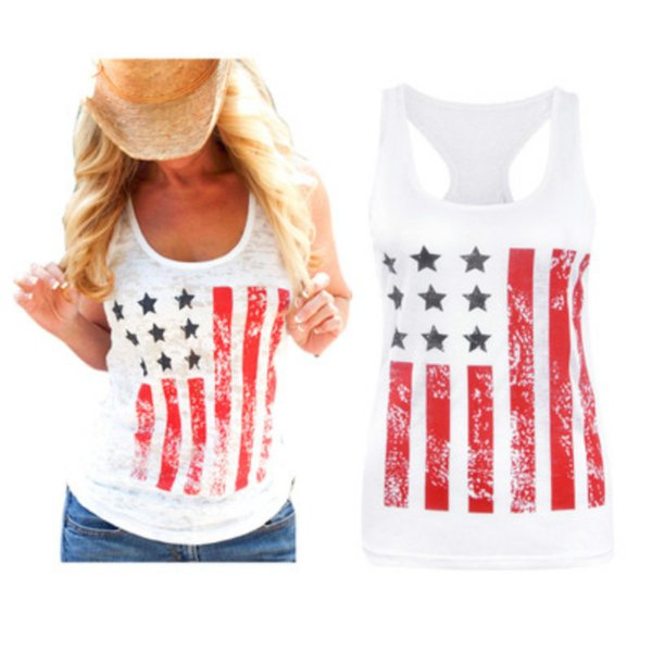 Мода Сексуальная Женская Одежда Повседневная США Национальный Флаг Печатный Бак Лето Женский Футболки Без Рукавов Хлопок Футболки S-XL
