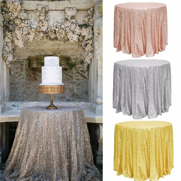 Great Gatsby wedding table cloth Rose gold round and rectangle Add Sparkle with Sequins wedding cake table idea Masquerade Birthday Party