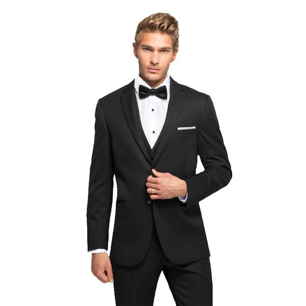 Men Suits Black Notched Lapel Wedding Suits Bridegroom Custom Made Slim Fit Slim Fit Formal Tuxedo Evening Dress Best Man Blazer Prom 3Piece