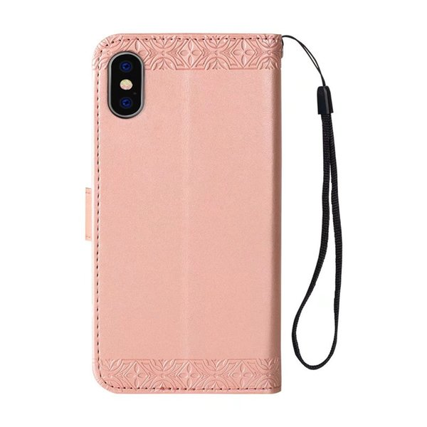 Delicate design for iphone 6 cases Embossed sunflower PU kickstand case for Goophone X wallet case with hanging strap