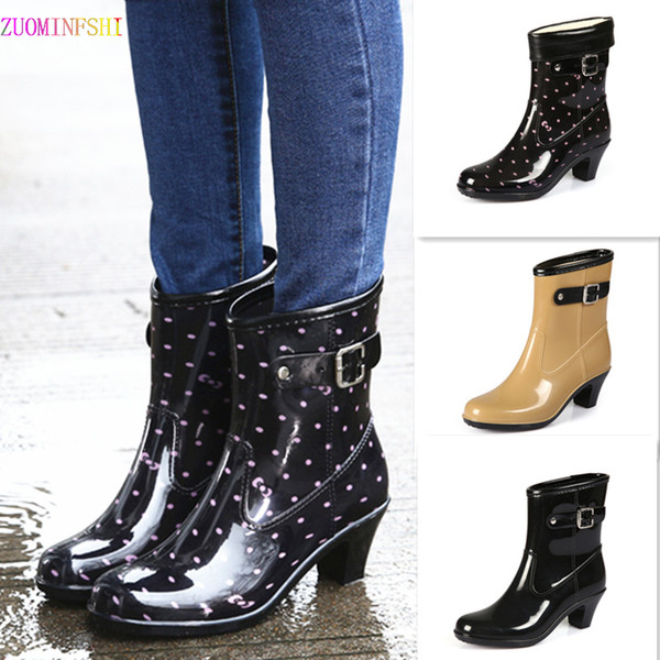 2018 High Heeled Shoes Women Fashion Rain Boots Women Waterproof High  Rainboots Slip Glass With Water Boots Mens Leather Boots Grey Boots From