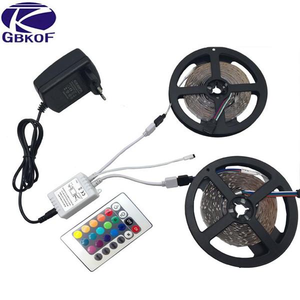 GBKOF Decoration 5m 10m RGB led strip 3528 SMD 60LED/M diode flexible strip LED light Set+RGB remote control+DC12V Power Adapter