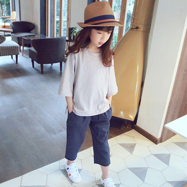 2018 Summer Wear Girl Solid Color T Pity Children Jacket Seven Part Sleeve Asymmetry Rendering Unlined Upper Garment cute t-shirt