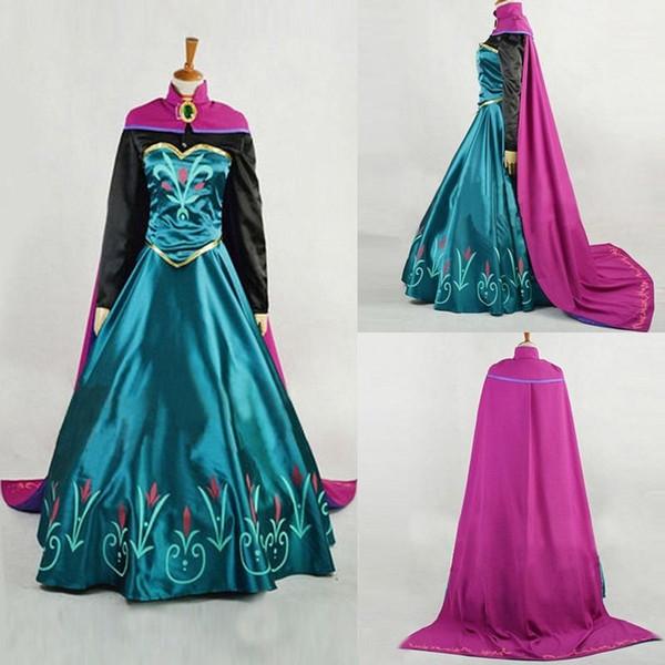 M L XL Snow Queen анна платье для взрослых Хэллоуин принцесса анна Коронация косплей костюм фильм партии женщин Костюмированный Выполненная на заказ