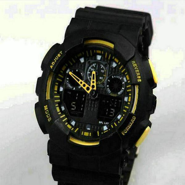 gli sport doppi gialli dell'esposizione di sport dell'esposizione ga100 G neri dell'esposizione di colore LED dell'esercito degli orologi casuali degli orologi casuali degli uomini libera il trasporto