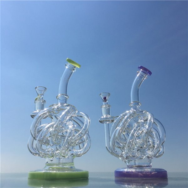 Rig Glass Bong Water Pipes Quartz Bowl Honeycomb Perc Purple And Green Bongs Heady Oil Rigs Smoking Accessories Free Shipping