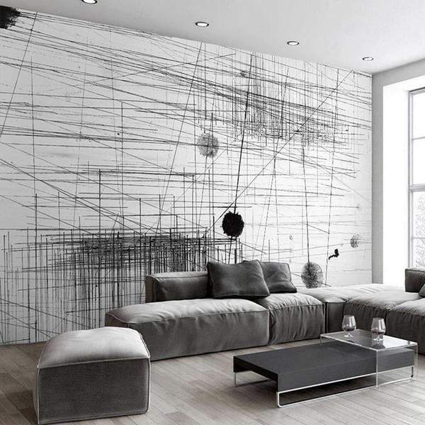 Acheter Papier Peint Mural Noir Blanc Rayures Lignes Art Abstrait Peinture Murale Salon Canapé Toile De Fond 3d Photo Papier Peint De 35 62 Du