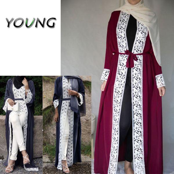 Moda Maxi abito di pizzo musulmano Aperto Abaya Cardigan Abiti lunghi Abito tunica Kimono Jubah Medio Oriente Abbigliamento arabo islamico Ramadan