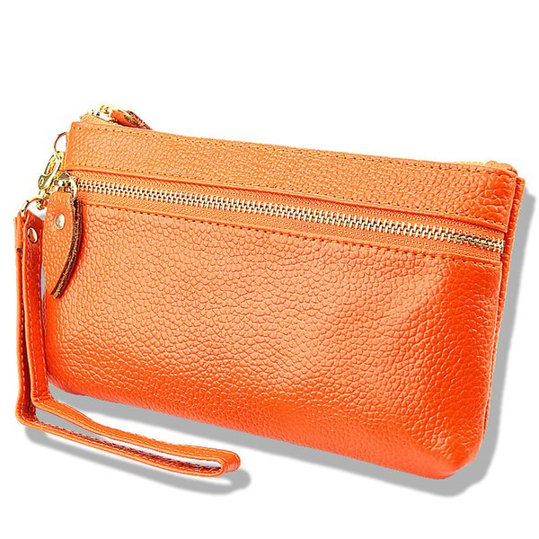 fashion handbag Genuine Leather New Fashion Women Clutch Bags Wallets Wristlet Zipper Change Purses Cowhide Handbags Candy Color