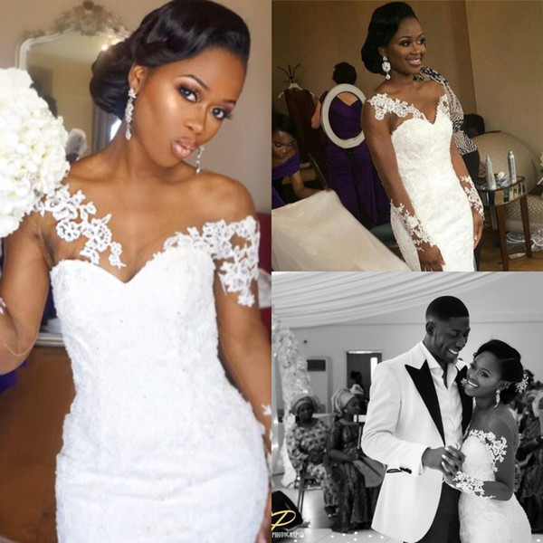 Nigerian fashion African Wedding Dresses Mermaid Plus Size Country Sheer Jewel Neck Appliques Lace Long Sleeve Bridal Gowns Traditional